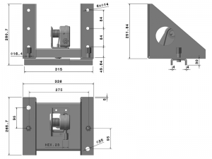 10401 – Wheel carrier for 8 stud wheel. Steel.
