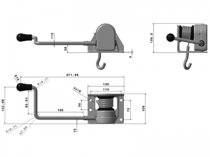 10816 – Lifting Winch. Lifting winch square base 108-A series with crank.