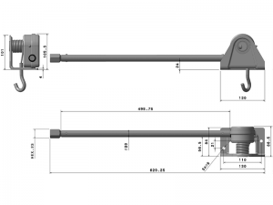 10817 – Lifting Winch. Lifting winch square base 108-A series with stretch tube. Left exit. Steel.