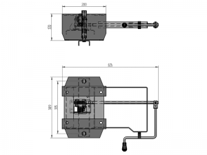 11605 – Wheel carrier for 10 stud wheel, model under crossbar with crank. Steel.
