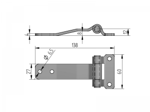 20203 I – Raised Door Hinges 202 series. Length of 138 mm. Stainless steel.