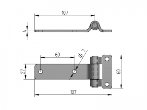 20204 I – Flat Door Hinges 202 series. Length of 137 mm. Stainless steel.