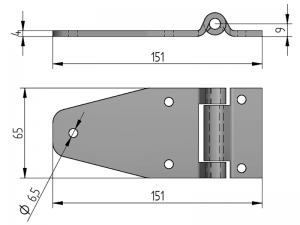 20205 I –  Flat Door Hinges 202 series. Length of 151 mm. Stainless steel.