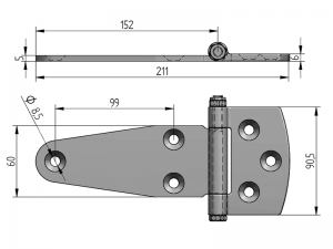 20208 I – Bisagra plana modelo 202. Longitud 212 mm. Acero Inoxidable.