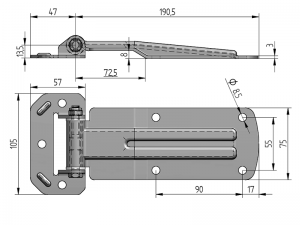20260 I –  Side Door Hinges 202 series. Length of 240 mm. Stainless steel.