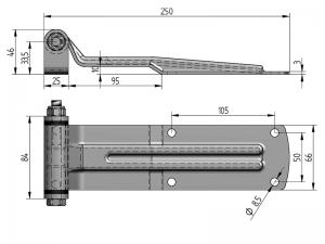 20502 I – Bisagra trasera modelo 205 con soporte para atornillar. Longitud 250 mm. Acero Inoxidable.