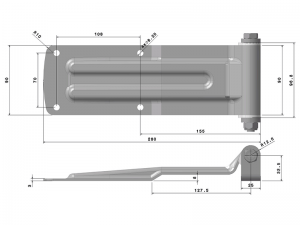 20903 I – Rear Door Hinges with bracket to weld on 209 series. Length of 280 mm. Stainless steel.