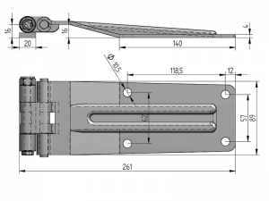 21102 I – Rear Door Hinges with jointed bracket to weld on 211 series. Length of 261 mm. Stainless steel.