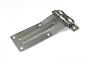 21103 I – Rear Door Hinges with double jointed bracket to bolt-on 211 series. Length of 259 mm. Stainless steel.