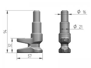 300116 Z – Leva modelo 311, para tubo Ø21-25-27 mm. Acero cincado (microfusión).