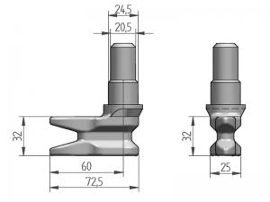 300123 I – Leva modelo 310 con basa para tubo Ø25/27 mm. Acero inoxidable (microfusión)