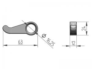300126 I – Leva modelo empotradas. Acero inoxidable (microfusión).