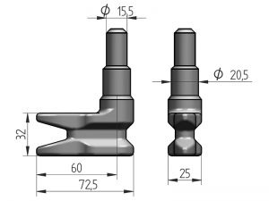 300127 I – Leva modelo 310 para tubo Ø20-21.3-22-25 mm. Acero inoxidable (microfusión).