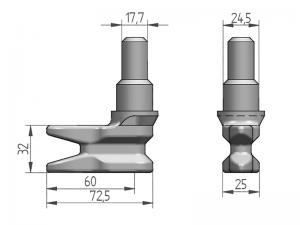 300135 I – Leva modelo 340 para tubo Ø22 mm (interior Ø18 mm). Acero inoxidable (microfusión).