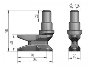 300141 I – Leva modelo 321 con basa para tubo Ø27 mm. Acero inoxidable (microfusión).