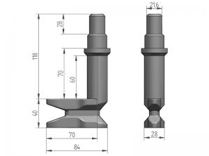 """300142 I – Leva modelo 321 """"Larga"""" con basa para tubo 27 mm. Acero inoxidable"""