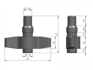 300160 Z – Leva doble modelo 310 para tubo Ø20 mm. Acero cincado (microfusión).