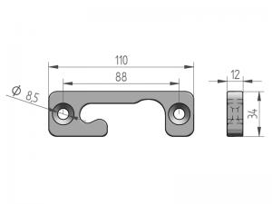300225 Z – Cremona modelo empotrada. Acero (microfusión).