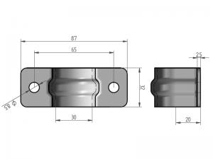 300302 I – Abrazadera sencilla para tubo de Ø21,3-25 mm. Acero inoxidable.