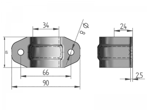 300306 I –  Abrazadera sencilla para tubo de  Ø25-27 mm. Acero inoxidable.