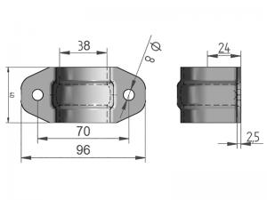 300307 I – Abrazadera sencilla para tubo de Ø33 mm. Acero inoxidable.