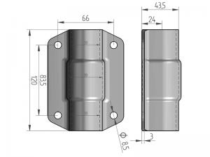300310 Z – Abrazadera doble para tubo de Ø25-27 mm. Acero.
