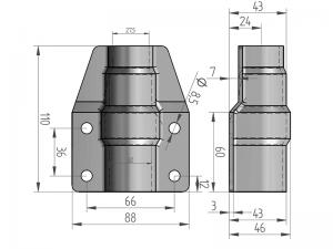 300321 I – Abrazadera salto de goma corta para tubo de Ø25-27 mm. Acero inoxidable.