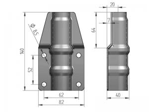 300325 I – Abrazadera salto de goma para tubo Ø21,3-25 mm. Acero inoxidable.