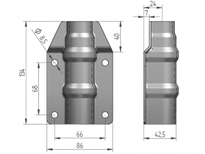 300326 I – Abrazadera salto de goma para tubo de Ø25-27 mm. Acero inoxidable.