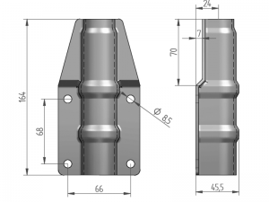 "300327 I – Abrazadera salto de goma ""grande"" para tubo de Ø25-27 mm. Acero inoxidable."