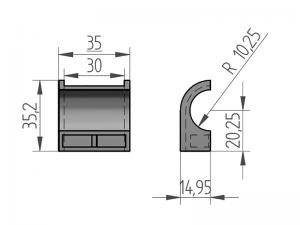 300401 – Semicasquillo para tubo Ø20 mm. Nylon