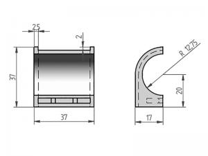 300402 – Semicasquillo para tubo de Ø25 mm. Nylon.