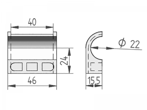300403 – Semicasquillo para tubo Ø21,3 mm. Nylon