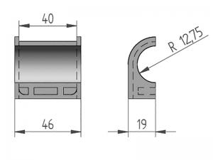 300404 – Semicasquillo para tubo Ø25 mm. Nylon.