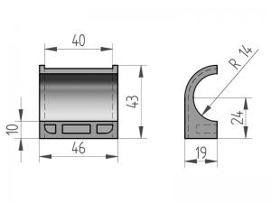 300405 – Semicasquillo para tubo Ø27 mm. Nylon.