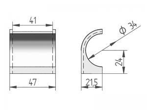 300406 – Half nylon bush suitable for use with Ø33 mm tube.
