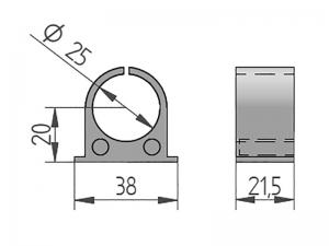 300408 – Casquillo interior PAL para cubrefalleba tubo de Ø25 mm. Nylon.