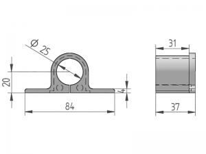 300409 – Casquillo Punta para cubrefallebas para tubo de Ø25 mm. Nylon.