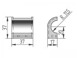 300410 – Semicasquillo para tubo Ø22. Nylon.