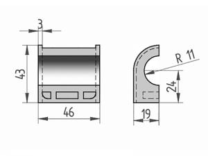 300412 – Semicasquillo para tubo Ø22 mm. Nylon.