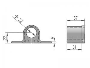 300440 – Casquillo Punta para cubrefallebas para tubo de Ø22 mm. Nylon.