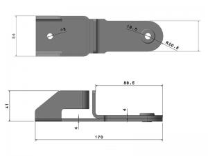 "300501 Z – Maneta Traba tubo Ø21,3/22/25/27/33 mm modelo Container «Tipo Mango"". Acero."