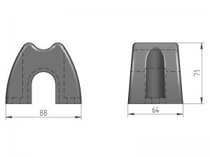 300725 – Abrazadera Tope de Goma para tubo Ø25 mm con casquillo Ø25 mm.