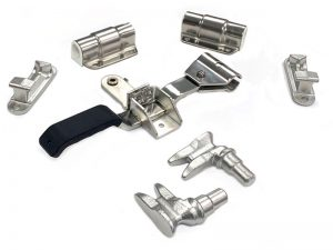 "3023301 I – Container Locks 302 series. Full external container locks ""Wrap-around Handle Type"" suitable for use with Ø33 mm tube. Stainless steel."