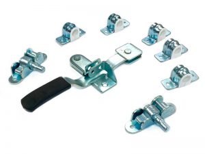 "3042001 Z – Container Locks 304 series. Full external container locks ""Flat Handle Type"" suitable for use with Ø20 mm tube. Steel."