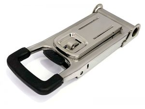 30625 I – Push Door Locking handle (guide base type)  306 series, suitable for use with Ø25 mm tube. Stainless steel.