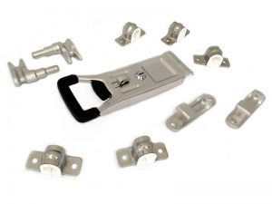 "3102001 I – External Door Locks 310 Series. Full ""LARGE"" external push door locks 310 series (open type), suitable for use with Ø20 mm tube. Stainless steel."