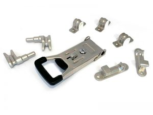 "3102003 I – External Door Locks 310 Series. Full ""SHORT"" external push door locks 310 series (guide base type), suitable for use with Ø20 mm tube. Stainless steel."
