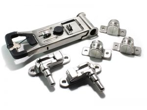 "3102204 I – External Door Locks 310 Series. Full ""LARGE"" external push door locks 310 series (guide base type), suitable for use with Ø21,3 mm tube. Stainless steel."