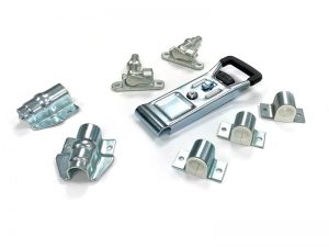 "3112502 Z – External Door Locks 311 Series. Full ""Opened"" external push door locks 311 series (standard base type), suitable for use with Ø25 mm tube. Cranked support guide. Steel."